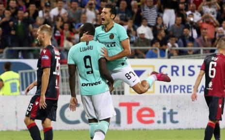 Cagliari-Inter 1-2, l'esultanza di Romelu Lukaku